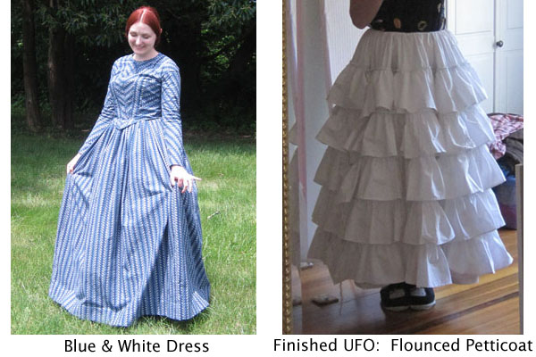 blue and white dress, corded petticoat (finished UFO)