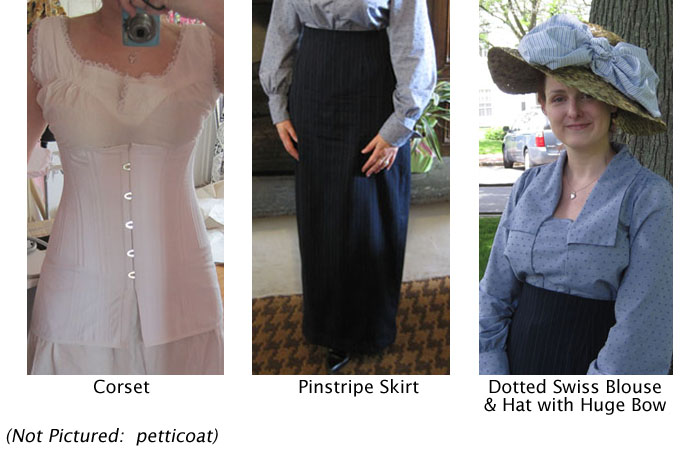 corset, simple slip, dotted swiss blouse, pinstripe skirt, hat