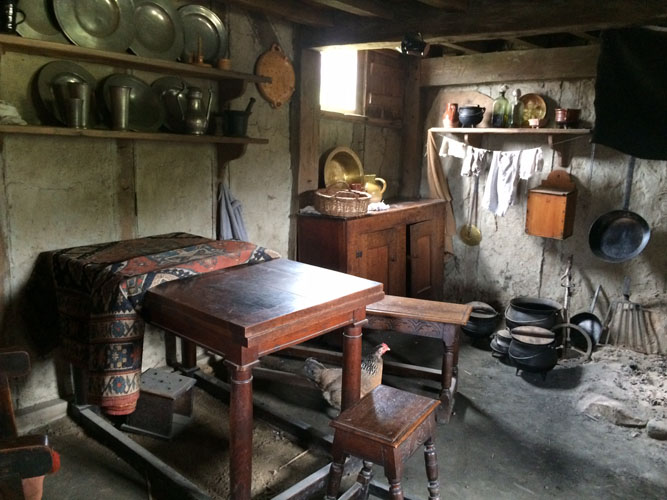 Interior of a house at Plimoth Plantation