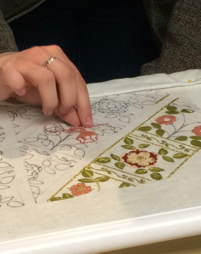 Embroidery demo at Plimoth Plantation 17th century embellishment conference