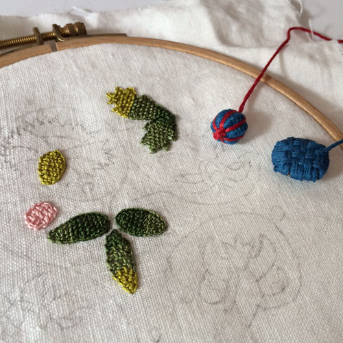 Embroidery and thread buttons